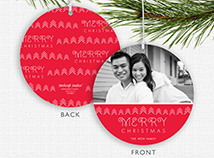 Merry Christmas Photo Ornament Holiday Cards